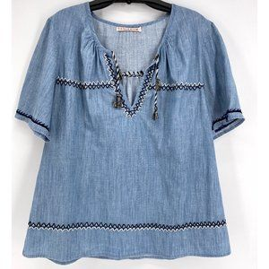 Banjanan Blue Chambray Embroidered Tassel Top~L